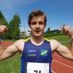 Martin etter ny personlig rekord på 12.24 på 100m (G15)