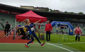 Maria kaster spyd på Bislett stadion