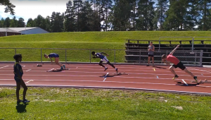 Svingstart 200m med Hallgeir, RFIK sommertrening i Hønefoss